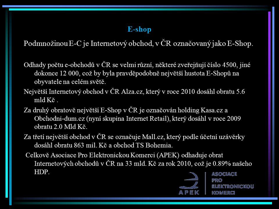 E-shop Podmnožinou E-C je Internetový obchod, v ČR označovaný jako E-Shop. Odhady počtu e-obchodů v ČR se velmi různí, některé zveřejňují číslo 4500,