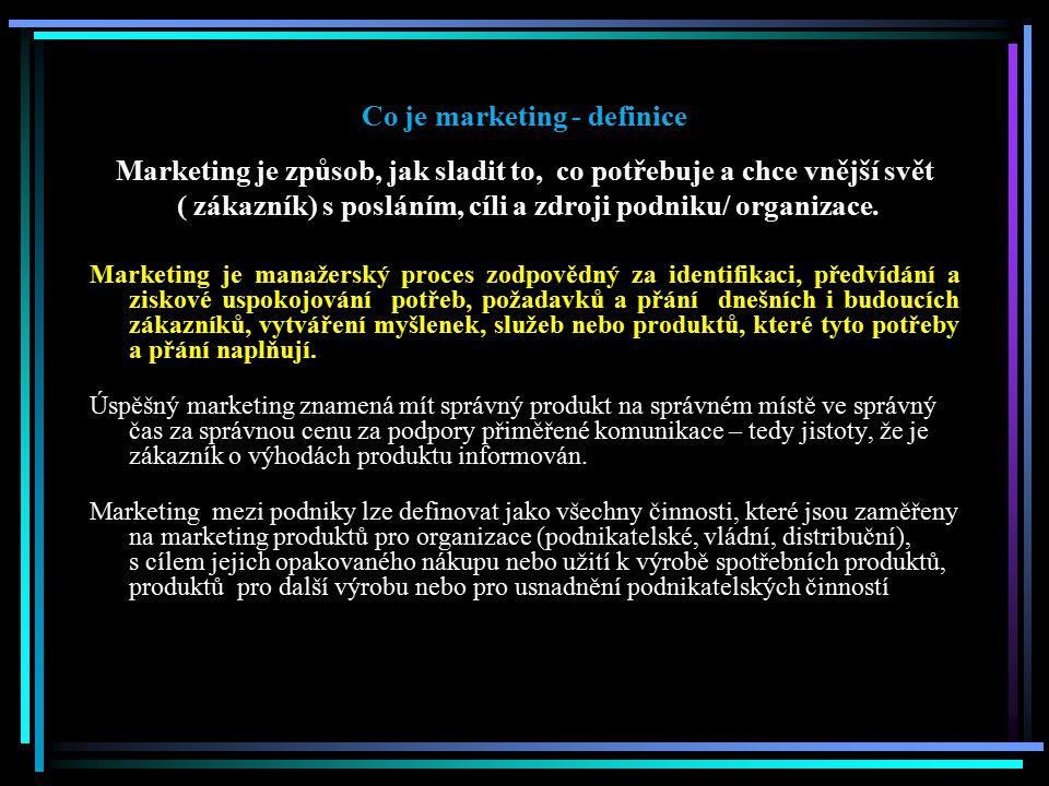 Co je marketing - definice Marketing je způsob, jak sladit to, co potřebuje a chce vnější svět ( zákazník) s posláním, cíli a zdroji podniku/ organiza