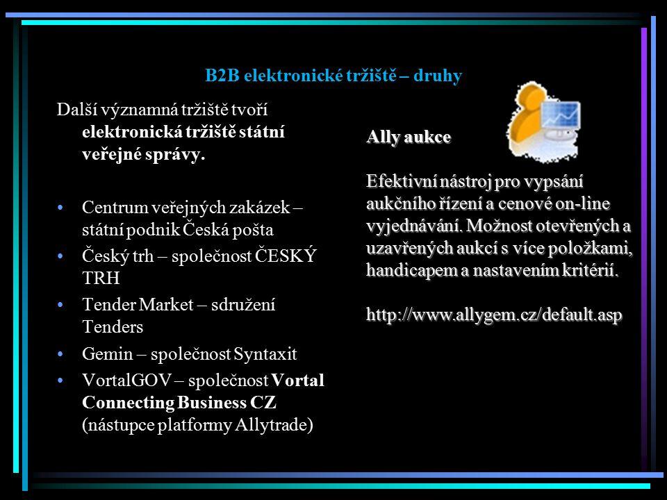 B2B elektronické tržiště – druhy Další významná tržiště tvoří elektronická tržiště státní veřejné správy. Centrum veřejných zakázek – státní podnik Če