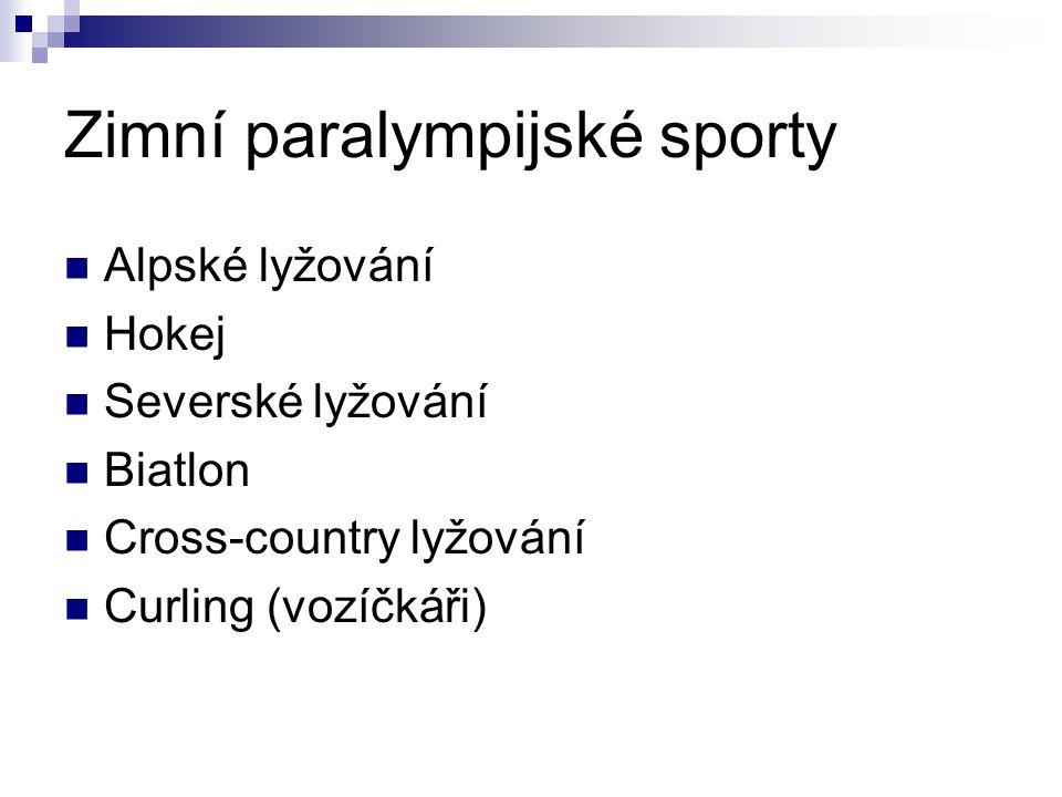 Zimní paralympijské sporty Alpské lyžování Hokej Severské lyžování Biatlon Cross-country lyžování Curling (vozíčkáři)