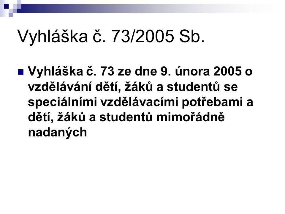 Vyhláška č. 73/2005 Sb. Vyhláška č. 73 ze dne 9. února 2005 o vzdělávání dětí, žáků a studentů se speciálními vzdělávacími potřebami a dětí, žáků a st