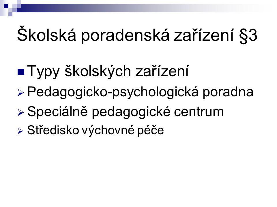 Školská poradenská zařízení §3 Typy školských zařízení  Pedagogicko-psychologická poradna  Speciálně pedagogické centrum  Středisko výchovné péče