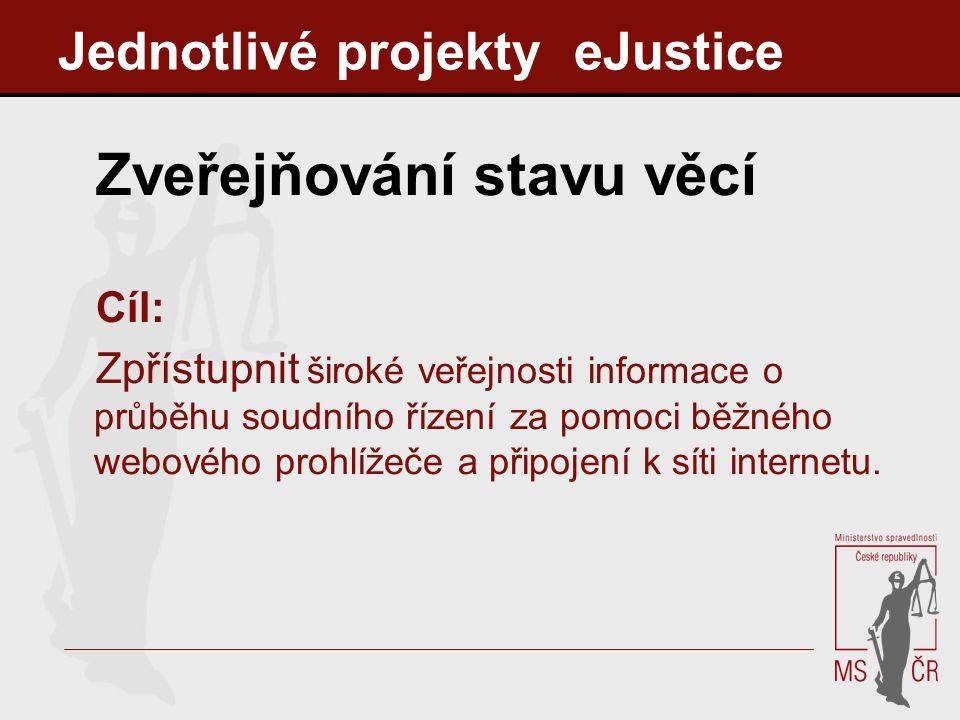 Jednotlivé projekty eJustice Zveřejňování stavu věcí Cíl: Zpřístupnit široké veřejnosti informace o průběhu soudního řízení za pomoci běžného webového