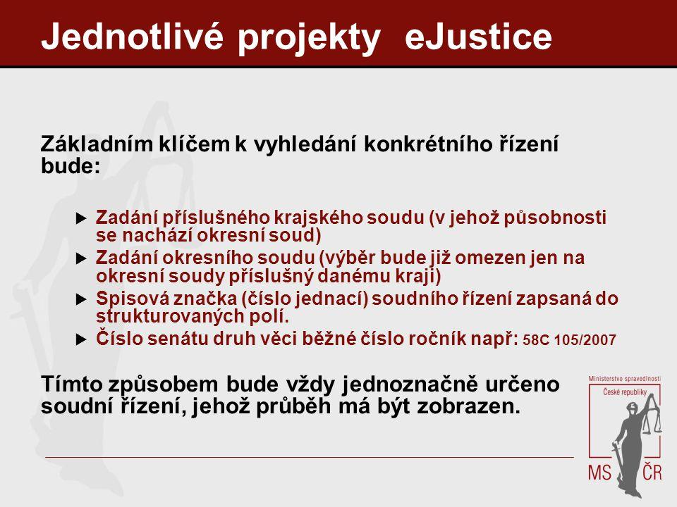 Jednotlivé projekty eJustice Základním klíčem k vyhledání konkrétního řízení bude:  Zadání příslušného krajského soudu (v jehož působnosti se nachází