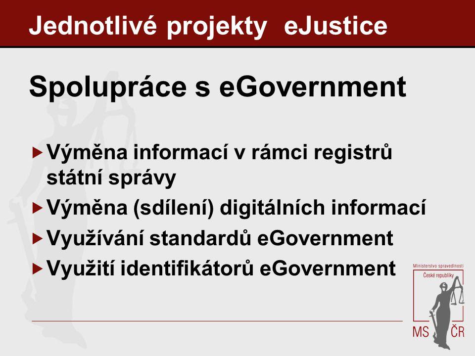 Jednotlivé projekty eJustice Spolupráce s eGovernment  Výměna informací v rámci registrů státní správy  Výměna (sdílení) digitálních informací  Vyu