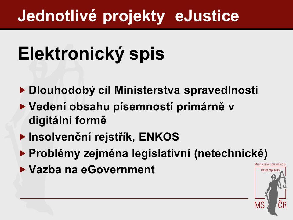Jednotlivé projekty eJustice Elektronický spis  Dlouhodobý cíl Ministerstva spravedlnosti  Vedení obsahu písemností primárně v digitální formě  Ins