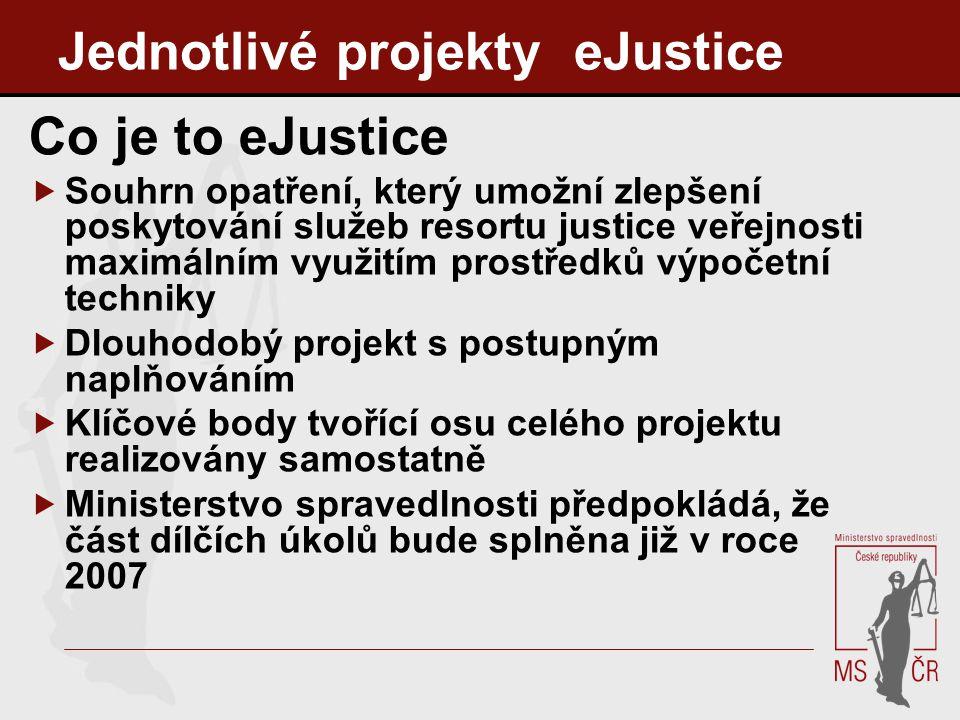 Jednotlivé projekty eJustice Co je to eJustice  Souhrn opatření, který umožní zlepšení poskytování služeb resortu justice veřejnosti maximálním využi