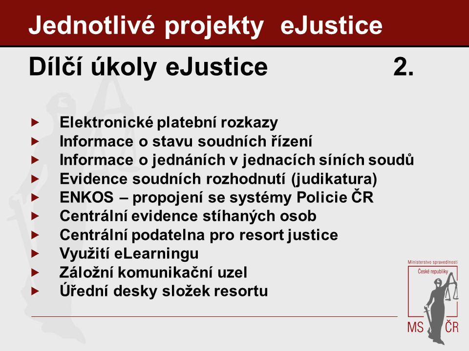 Jednotlivé projekty eJustice Dílčí úkoly eJustice 2.  Elektronické platební rozkazy  Informace o stavu soudních řízení  Informace o jednáních v jed
