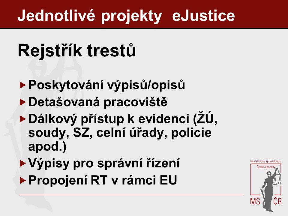 Jednotlivé projekty eJustice Rejstřík trestů  Poskytování výpisů/opisů  Detašovaná pracoviště  Dálkový přístup k evidenci (ŽÚ, soudy, SZ, celní úřa
