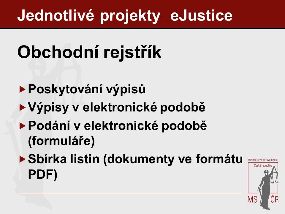 Jednotlivé projekty eJustice Obchodní rejstřík  Poskytování výpisů  Výpisy v elektronické podobě  Podání v elektronické podobě (formuláře)  Sbírka