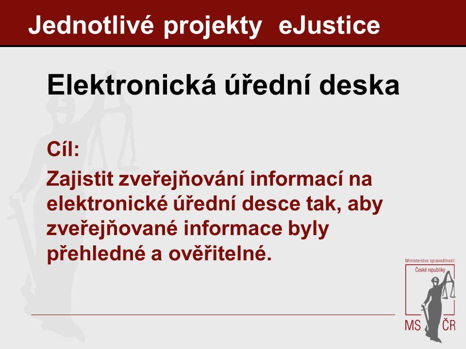 Jednotlivé projekty eJustice Elektronická úřední deska Cíl: Zajistit zveřejňování informací na elektronické úřední desce tak, aby zveřejňované informa