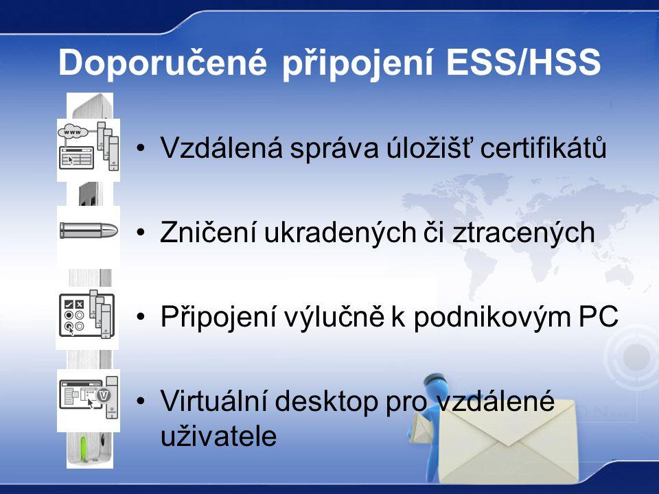 Doporučené připojení ESS/HSS Vzdálená správa úložišť certifikátů Zničení ukradených či ztracených Připojení výlučně k podnikovým PC Virtuální desktop pro vzdálené uživatele