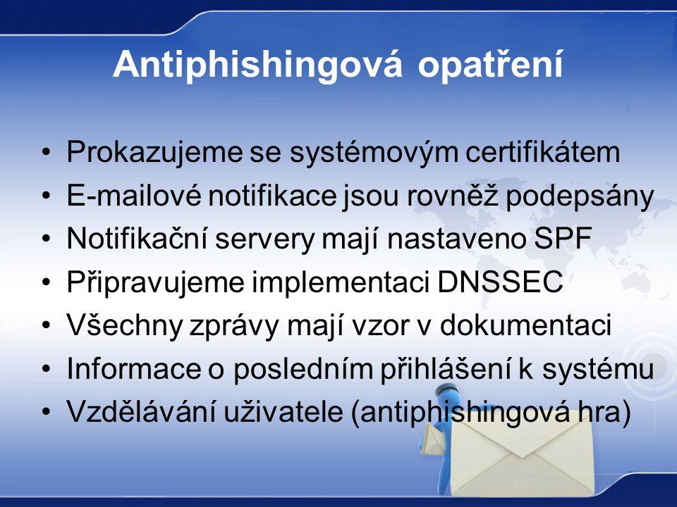 Antiphishingová opatření Prokazujeme se systémovým certifikátem E-mailové notifikace jsou rovněž podepsány Notifikační servery mají nastaveno SPF Připravujeme implementaci DNSSEC Všechny zprávy mají vzor v dokumentaci Informace o posledním přihlášení k systému Vzdělávání uživatele (antiphishingová hra)