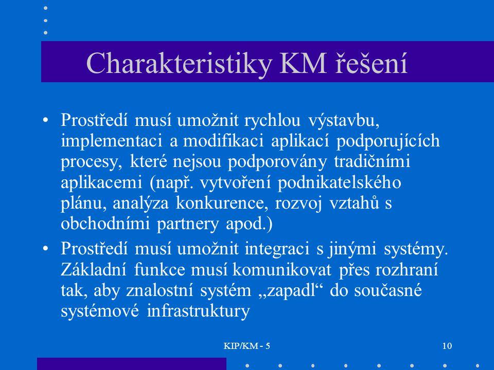 KIP/KM - 510 Charakteristiky KM řešení Prostředí musí umožnit rychlou výstavbu, implementaci a modifikaci aplikací podporujících procesy, které nejsou podporovány tradičními aplikacemi (např.