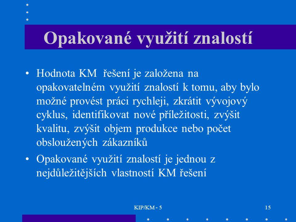 KIP/KM - 515 Opakované využití znalostí Hodnota KM řešení je založena na opakovatelném využití znalostí k tomu, aby bylo možné provést práci rychleji,