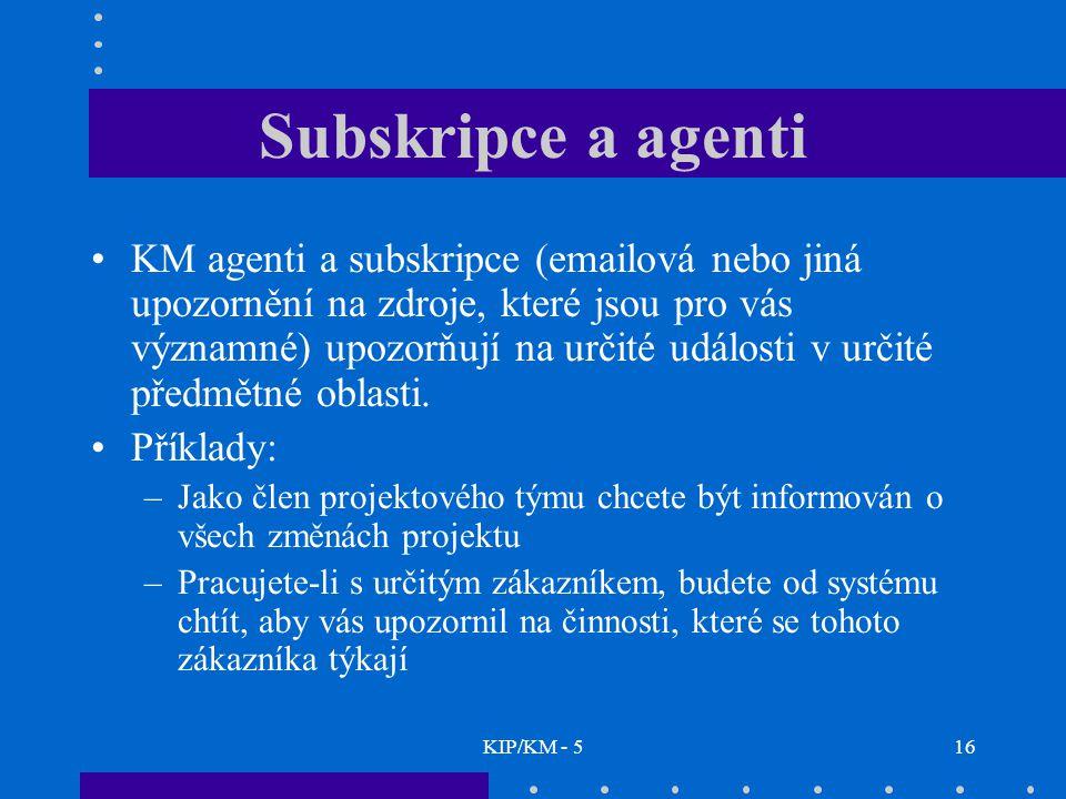 KIP/KM - 516 Subskripce a agenti KM agenti a subskripce (emailová nebo jiná upozornění na zdroje, které jsou pro vás významné) upozorňují na určité ud