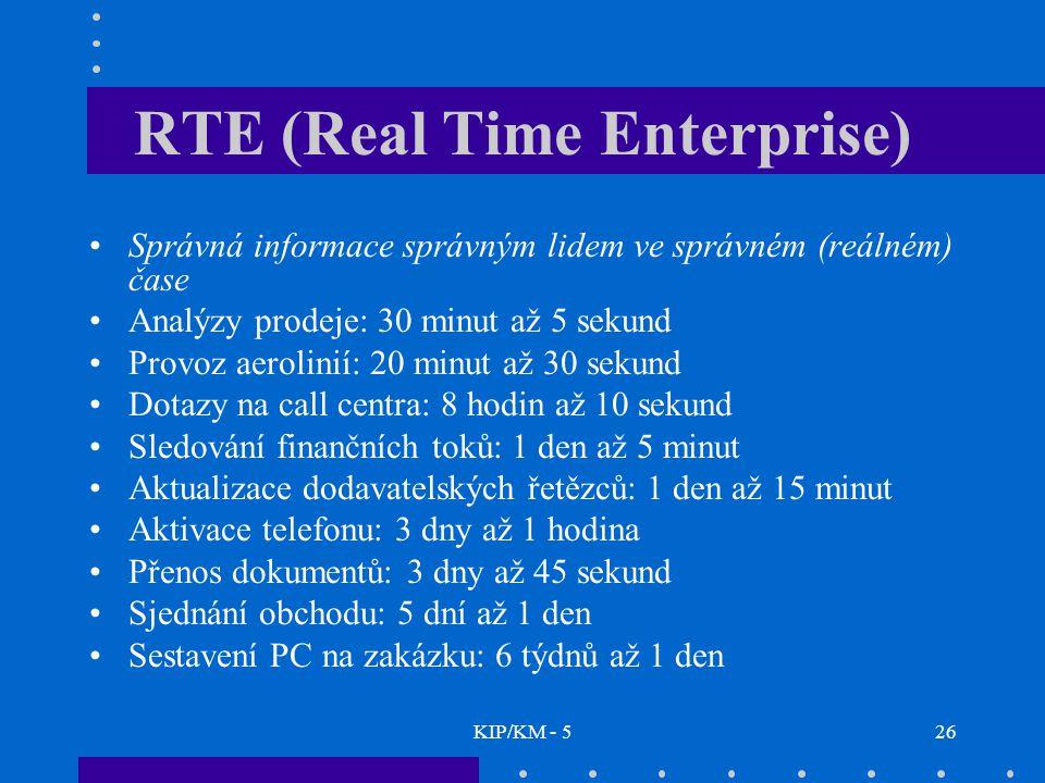 KIP/KM - 526 RTE (Real Time Enterprise) Správná informace správným lidem ve správném (reálném) čase Analýzy prodeje: 30 minut až 5 sekund Provoz aerolinií: 20 minut až 30 sekund Dotazy na call centra: 8 hodin až 10 sekund Sledování finančních toků: 1 den až 5 minut Aktualizace dodavatelských řetězců: 1 den až 15 minut Aktivace telefonu: 3 dny až 1 hodina Přenos dokumentů: 3 dny až 45 sekund Sjednání obchodu: 5 dní až 1 den Sestavení PC na zakázku: 6 týdnů až 1 den