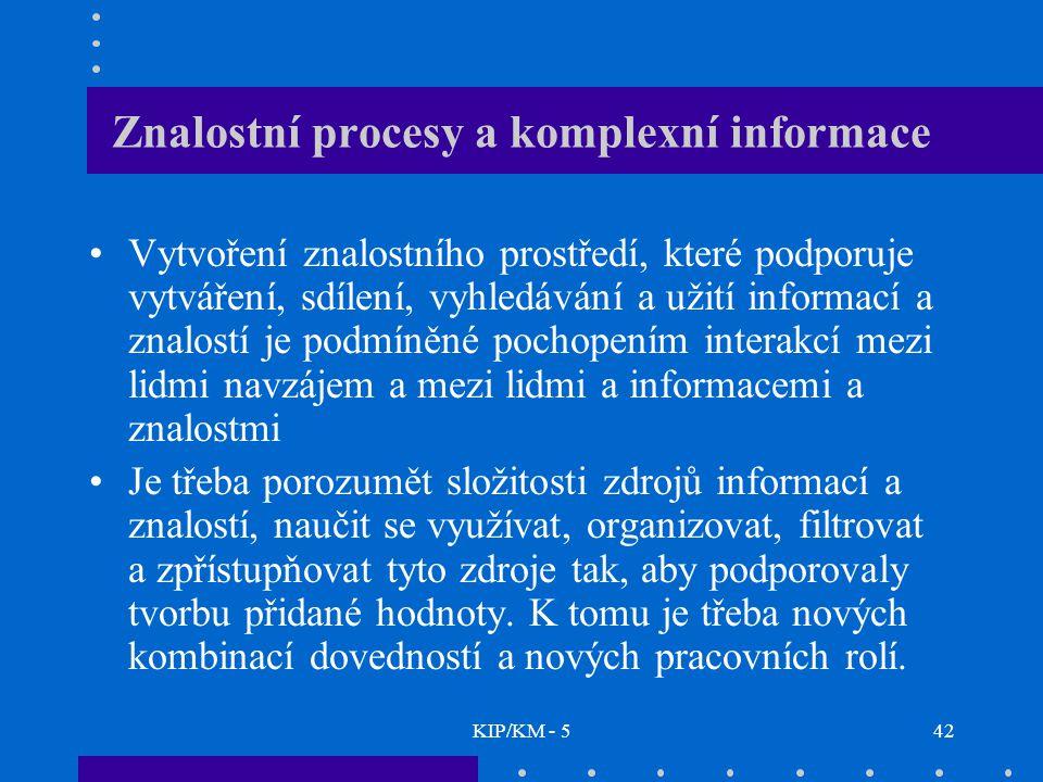 KIP/KM - 542 Znalostní procesy a komplexní informace Vytvoření znalostního prostředí, které podporuje vytváření, sdílení, vyhledávání a užití informací a znalostí je podmíněné pochopením interakcí mezi lidmi navzájem a mezi lidmi a informacemi a znalostmi Je třeba porozumět složitosti zdrojů informací a znalostí, naučit se využívat, organizovat, filtrovat a zpřístupňovat tyto zdroje tak, aby podporovaly tvorbu přidané hodnoty.