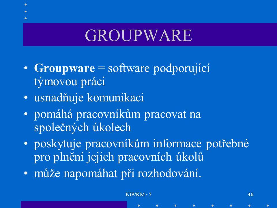 KIP/KM - 546 GROUPWARE Groupware = software podporující týmovou práci usnadňuje komunikaci pomáhá pracovníkům pracovat na společných úkolech poskytuje pracovníkům informace potřebné pro plnění jejich pracovních úkolů může napomáhat při rozhodování.