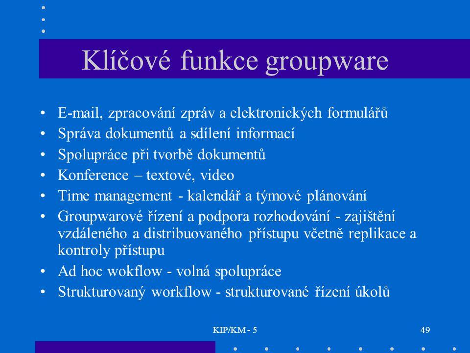 KIP/KM - 549 Klíčové funkce groupware E-mail, zpracování zpráv a elektronických formulářů Správa dokumentů a sdílení informací Spolupráce při tvorbě d
