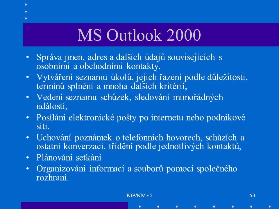 KIP/KM - 553 MS Outlook 2000 Správa jmen, adres a dalších údajů souvisejících s osobními a obchodními kontakty, Vytváření seznamu úkolů, jejich řazení