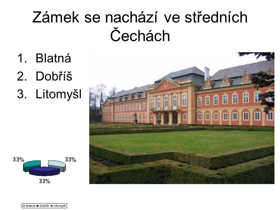 Zámek se nachází ve středních Čechách 1.Blatná 2.Dobříš 3.Litomyšl