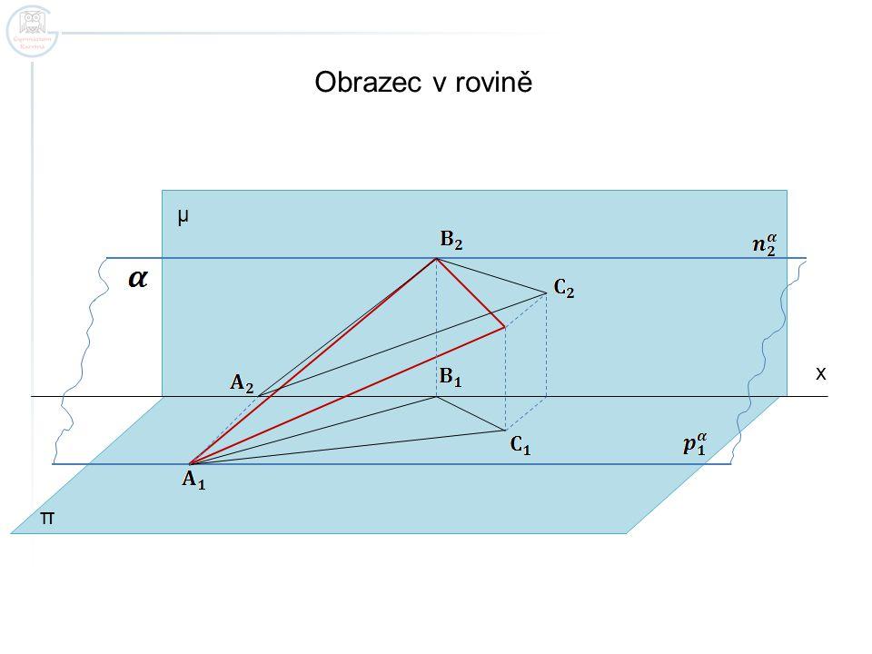 x Obrazec v rovině π μ