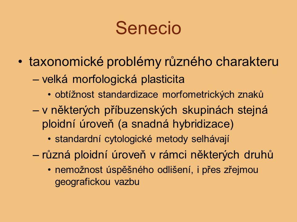 Senecio taxonomické problémy různého charakteru –velká morfologická plasticita obtížnost standardizace morfometrických znaků –v některých příbuzenskýc