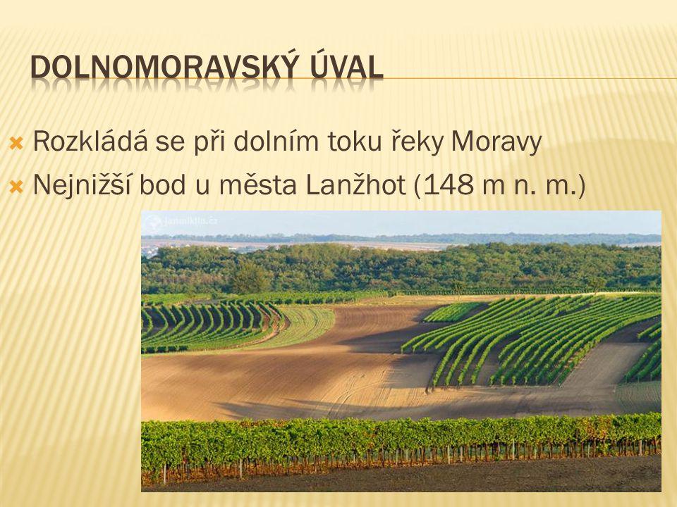  Rozkládá se při dolním toku řeky Moravy  Nejnižší bod u města Lanžhot (148 m n. m.)