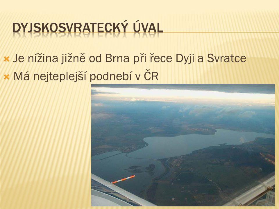  Je nížina jižně od Brna při řece Dyji a Svratce  Má nejteplejší podnebí v ČR