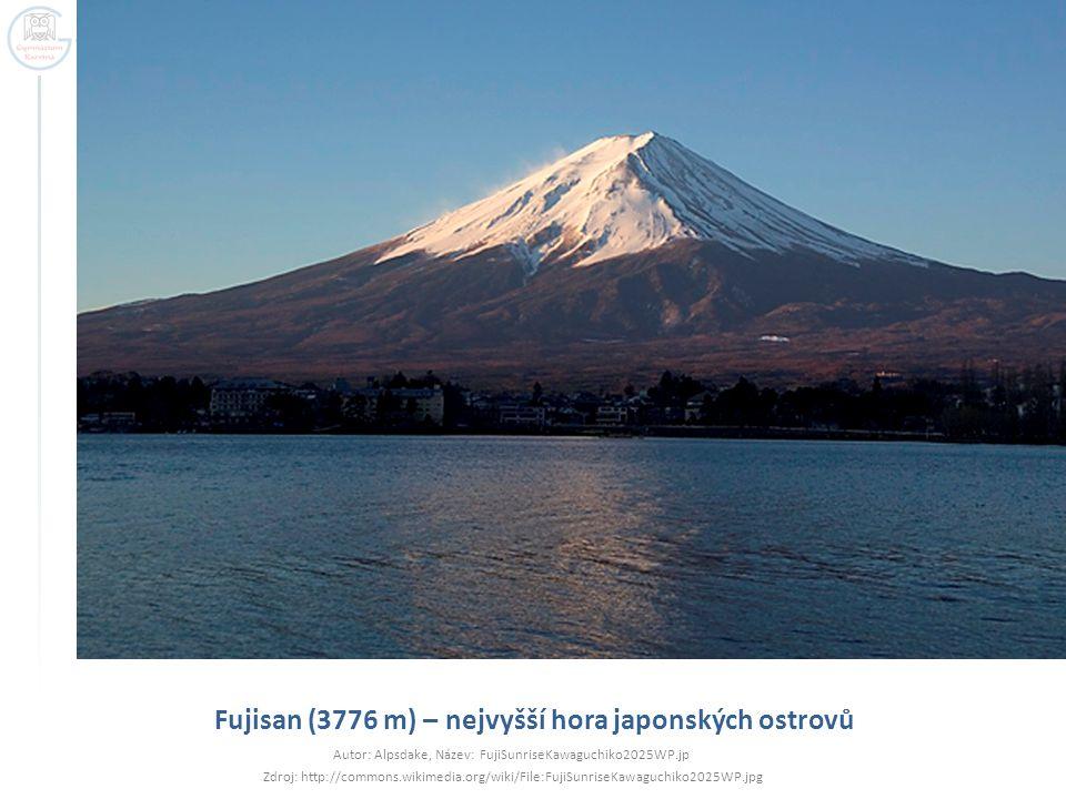 Fujisan (3776 m) – nejvyšší hora japonských ostrovů Autor: Alpsdake, Název: FujiSunriseKawaguchiko2025WP.jp Zdroj: http://commons.wikimedia.org/wiki/F