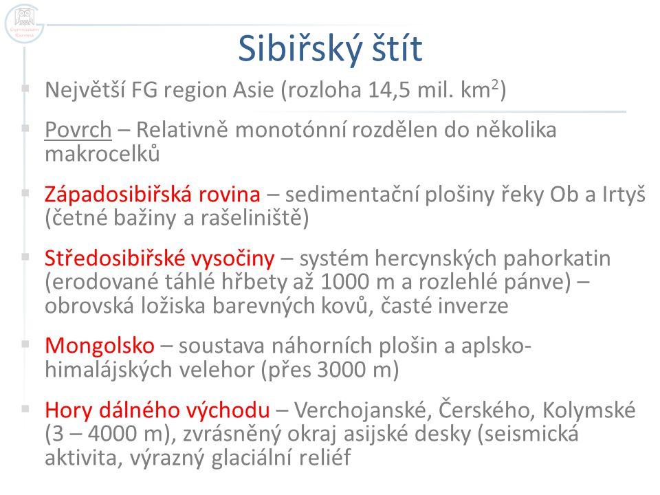 Sibiřský štít  Největší FG region Asie (rozloha 14,5 mil. km 2 )  Povrch – Relativně monotónní rozdělen do několika makrocelků  Západosibiřská rovi