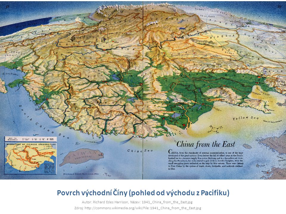 Povrch východní Číny (pohled od východu z Pacifiku) Autor: Richard Edes Harrison, Název: 1941_China_from_the_East.jpg Zdroj: http://commons.wikimedia.org/wiki/File:1941_China_from_the_East.jpg