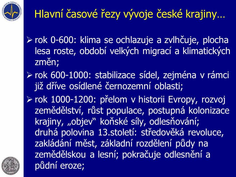 Hlavní časové řezy vývoje české krajiny…  rok 0-600: klima se ochlazuje a zvlhčuje, plocha lesa roste, období velkých migrací a klimatických změn; 