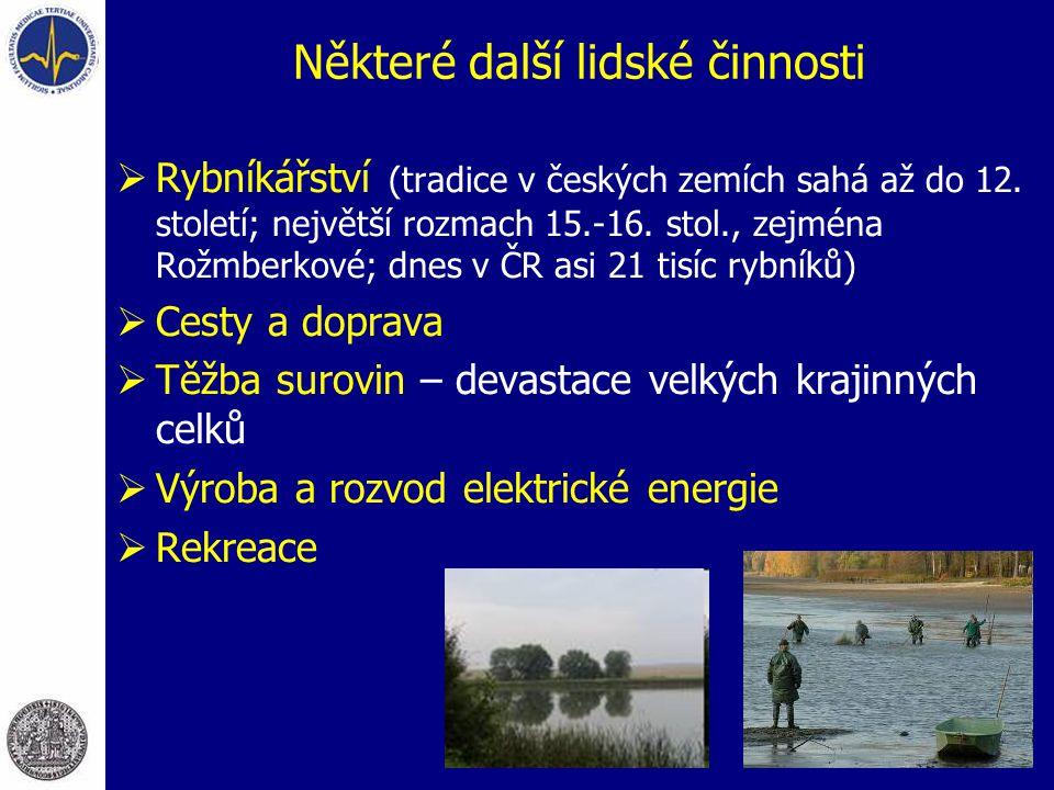 Některé další lidské činnosti  Rybníkářství (tradice v českých zemích sahá až do 12. století; největší rozmach 15.-16. stol., zejména Rožmberkové; dn