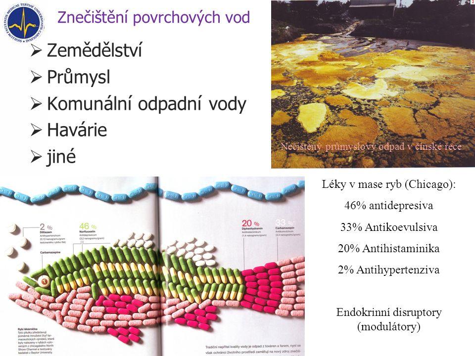 Znečištění povrchových vod  Zemědělství  Průmysl  Komunální odpadní vody  Havárie  jiné Léky v mase ryb (Chicago): 46% antidepresiva 33% Antikoevulsiva 20% Antihistaminika 2% Antihypertenziva Endokrinní disruptory (modulátory) Nečištěný průmyslový odpad v čínské řece