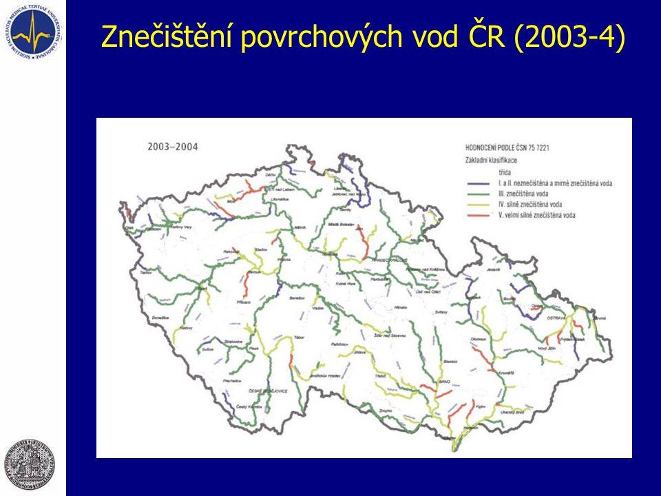 Znečištění povrchových vod ČR (2003-4)
