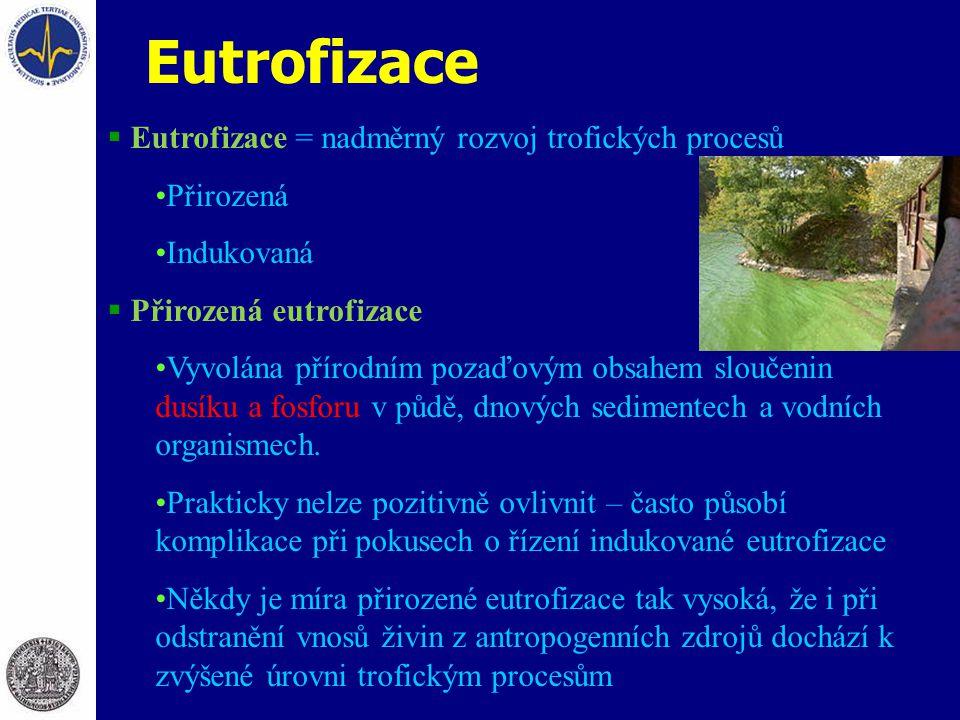 Eutrofizace  Eutrofizace = nadměrný rozvoj trofických procesů Přirozená Indukovaná  Přirozená eutrofizace Vyvolána přírodním pozaďovým obsahem sloučenin dusíku a fosforu v půdě, dnových sedimentech a vodních organismech.