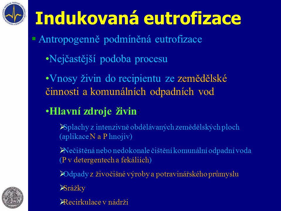 Indukovaná eutrofizace  Antropogenně podmíněná eutrofizace Nejčastější podoba procesu Vnosy živin do recipientu ze zemědělské činnosti a komunálních