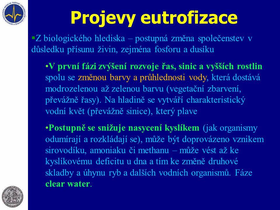 Projevy eutrofizace  Z biologického hlediska – postupná změna společenstev v důsledku přísunu živin, zejména fosforu a dusíku V první fázi zvýšení ro