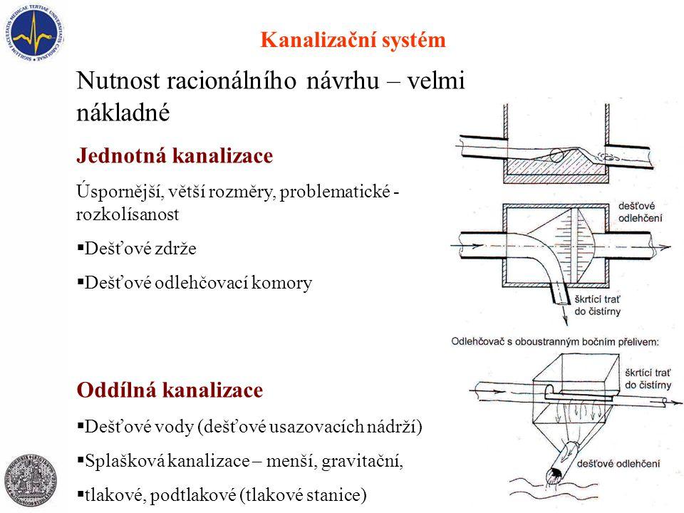 Kanalizační systém Nutnost racionálního návrhu – velmi nákladné Jednotná kanalizace Úspornější, větší rozměry, problematické - rozkolísanost  Dešťové zdrže  Dešťové odlehčovací komory Oddílná kanalizace  Dešťové vody (dešťové usazovacích nádrží)  Splašková kanalizace – menší, gravitační,  tlakové, podtlakové (tlakové stanice)