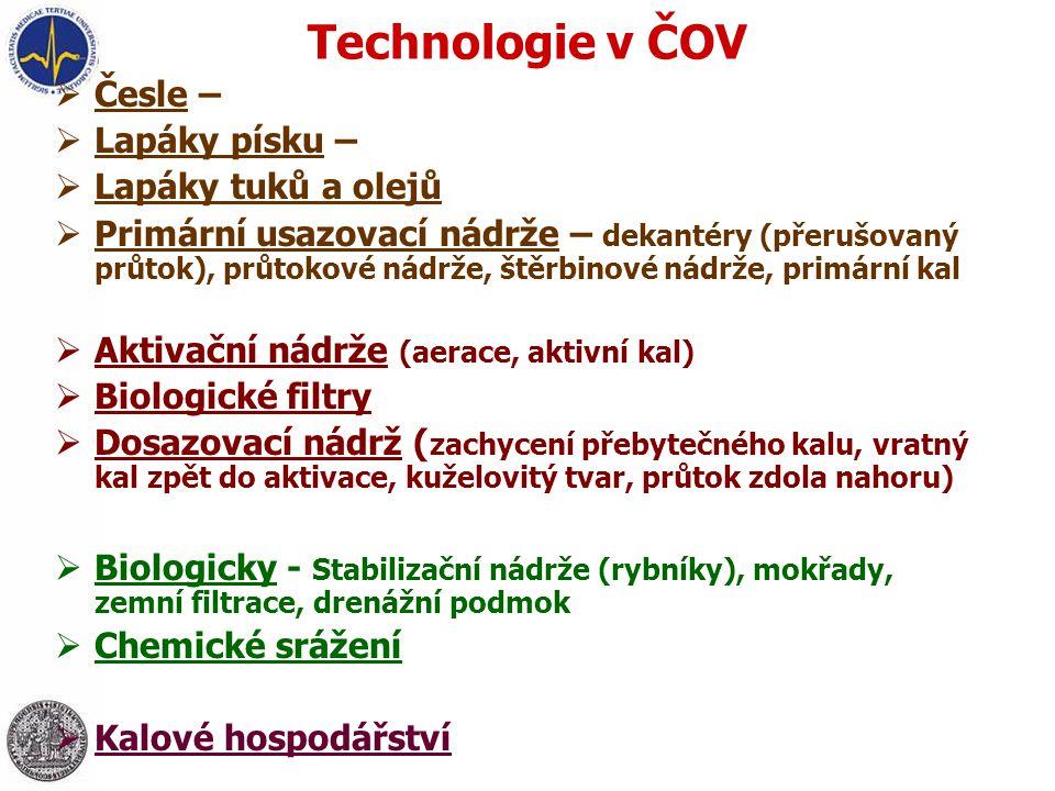Technologie v ČOV  Česle – mechanické, automaticky stírané,…  Lapáky písku – žlabové, rotační,…  Lapáky tuků a olejů  Primární usazovací nádrže –