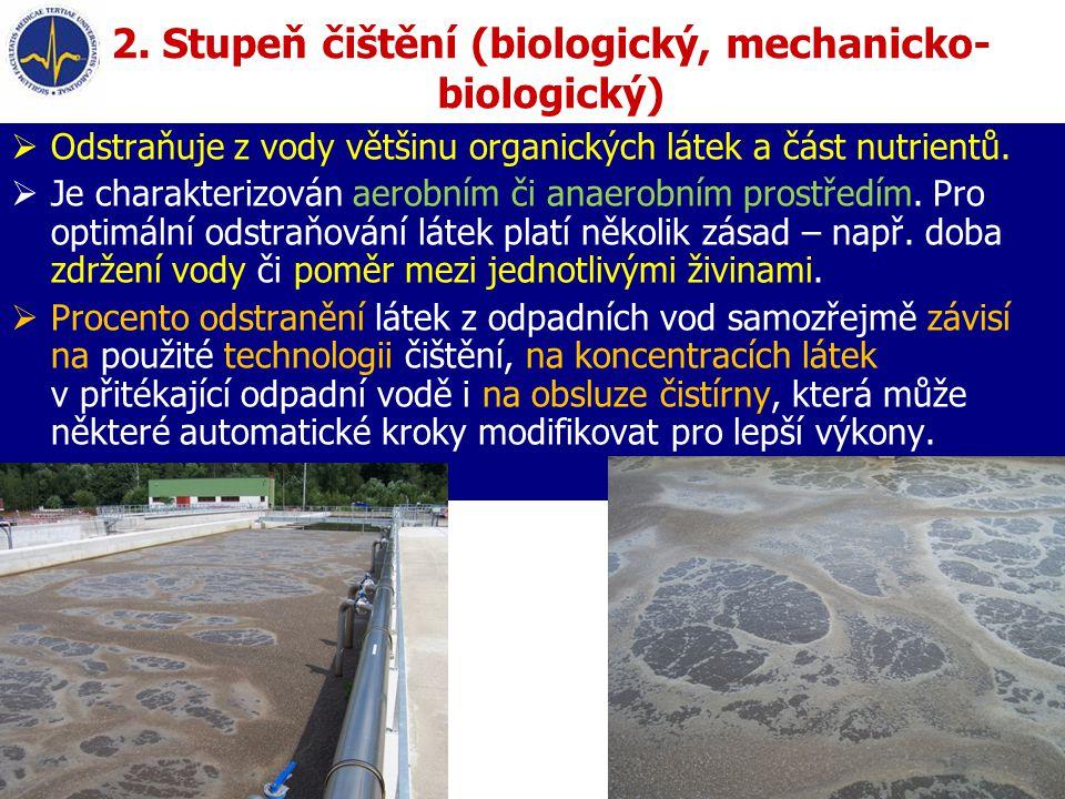 2. Stupeň čištění (biologický, mechanicko- biologický)  Odstraňuje z vody většinu organických látek a část nutrientů.  Je charakterizován aerobním č
