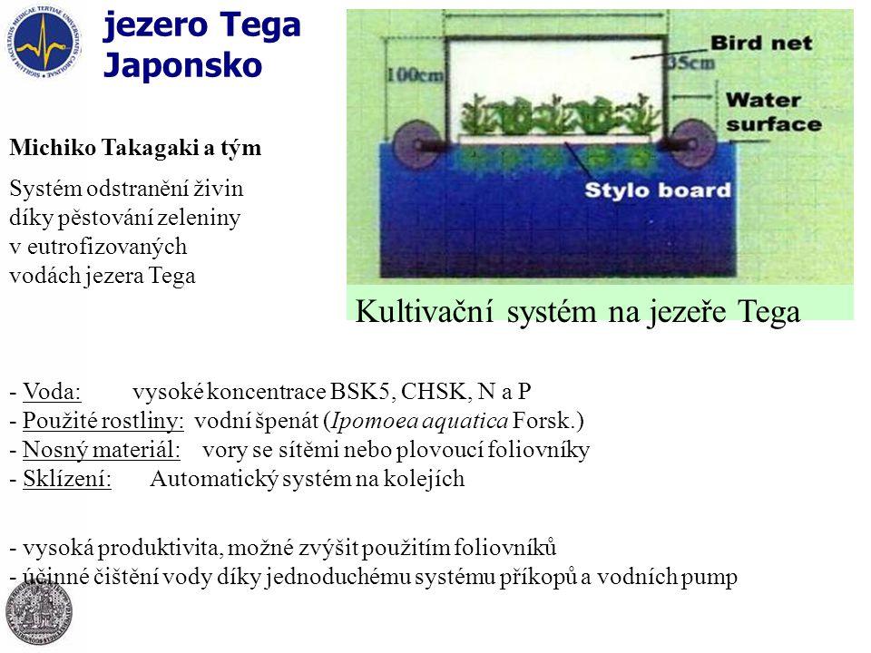 jezero Tega Japonsko Michiko Takagaki a tým Systém odstranění živin díky pěstování zeleniny v eutrofizovaných vodách jezera Tega - Voda: vysoké koncentrace BSK5, CHSK, N a P - Použité rostliny: vodní špenát (Ipomoea aquatica Forsk.) - Nosný materiál: vory se sítěmi nebo plovoucí foliovníky - Sklízení: Automatický systém na kolejích - vysoká produktivita, možné zvýšit použitím foliovníků - účinné čištění vody díky jednoduchému systému příkopů a vodních pump Kultivační systém na jezeře Tega
