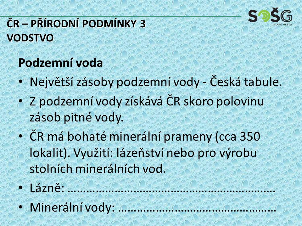 Podzemní voda Největší zásoby podzemní vody - Česká tabule.