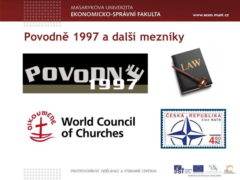 www.econ.muni.cz Povodně 1997 a další mezníky PROTIPOVODŇOVÉ VZDĚLÁVACÍ A VÝZKUMNÉ CENTRUM 11