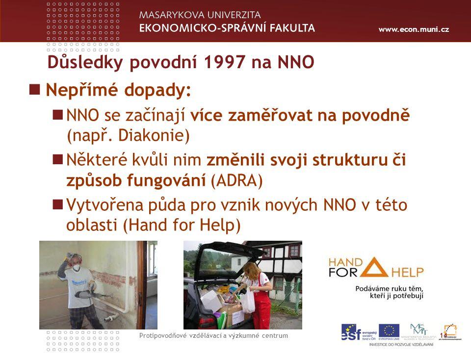 www.econ.muni.cz Důsledky povodní 1997 na NNO Nepřímé dopady: NNO se začínají více zaměřovat na povodně (např.