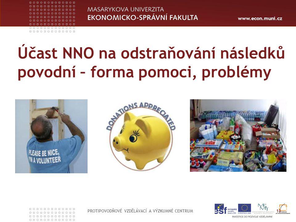 www.econ.muni.cz PROTIPOVODŇOVÉ VZDĚLÁVACÍ A VÝZKUMNÉ CENTRUM 18 Účast NNO na odstraňování následků povodní – forma pomoci, problémy