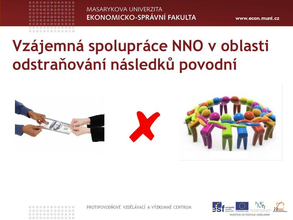 www.econ.muni.cz Vzájemná spolupráce NNO v oblasti odstraňování následků povodní PROTIPOVODŇOVÉ VZDĚLÁVACÍ A VÝZKUMMÉ CENTRUM 28