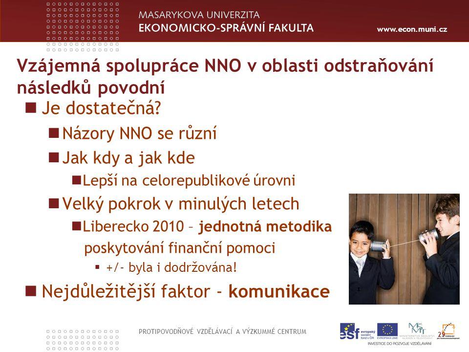 www.econ.muni.cz Vzájemná spolupráce NNO v oblasti odstraňování následků povodní Je dostatečná.